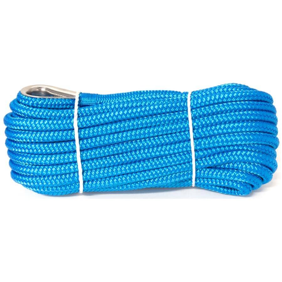 "KINGCORD:3/8"" x 50' Blue Nylon Double Braided Anchor Line"