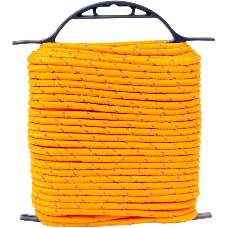 "KINGCORD:1/4"" x 100' Orange Reflective Diamond Braid Polypropylene Rope"
