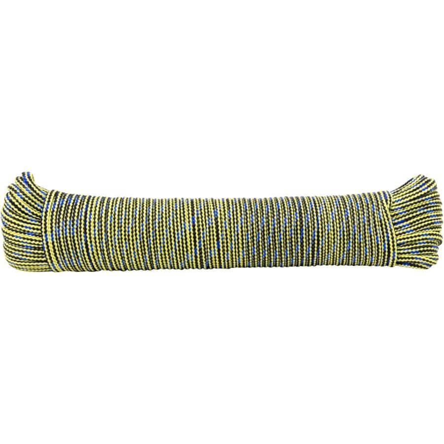 "KINGCORD:5/32"" x 100' Yellow/Black Hollow Core Polypropylene Rope"