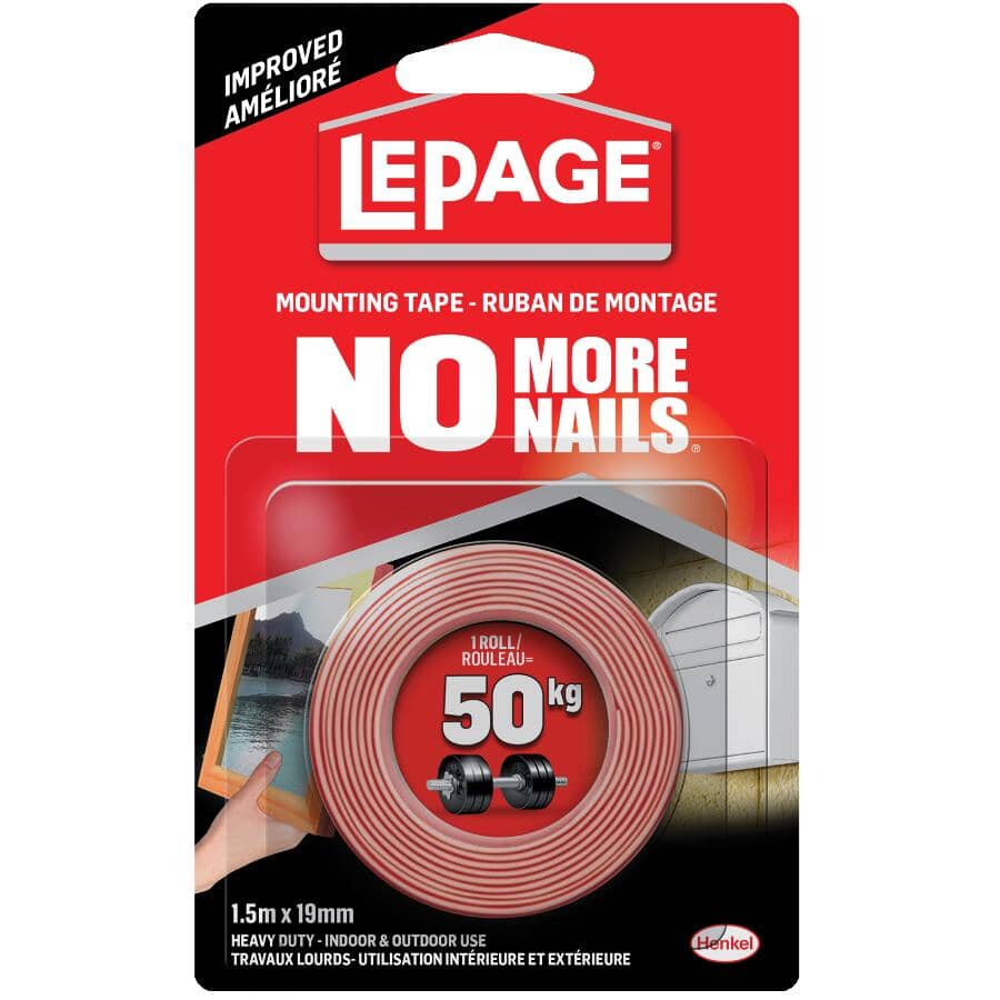 NO MORE NAILS:Indoor / Outdoor Mounting Tape - 19 mm x 1.5 M