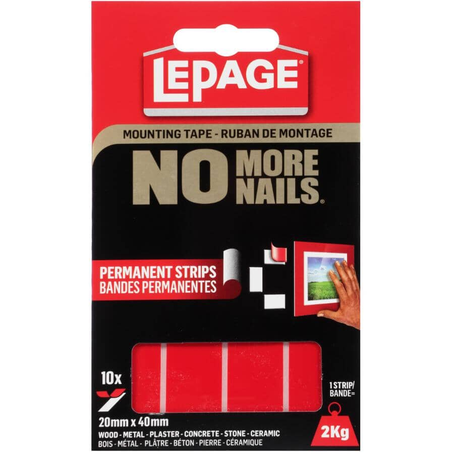NO MORE NAILS:Indoor / Outdoor Mounting Strips - 2 kg Weight Capacity, 10 Pack