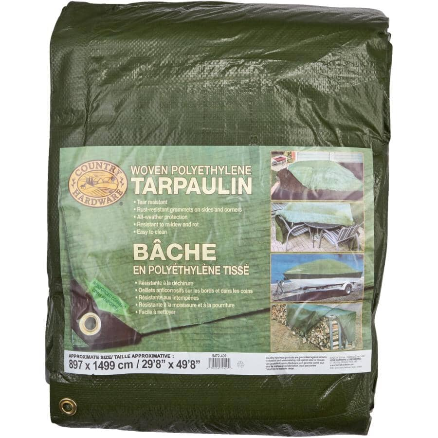 COUNTRY HARDWARE:30' x 50' Olive Green Poly Tarpaulin