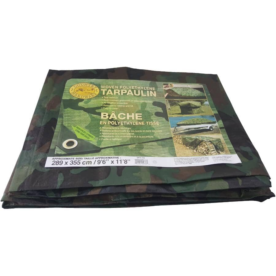 COUNTRY HARDWARE:10' x 12' Camouflage Poly Tarpaulin