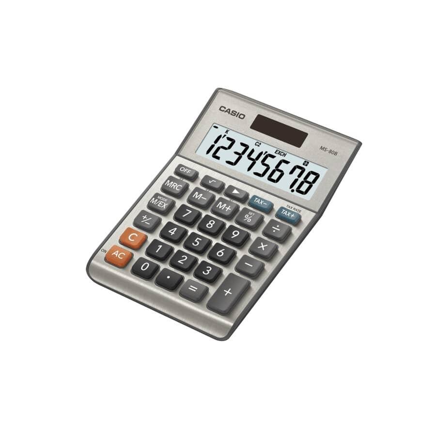 CASIO:Calculatrice de bureau avec affichage à 8 chiffres (MS-80B)