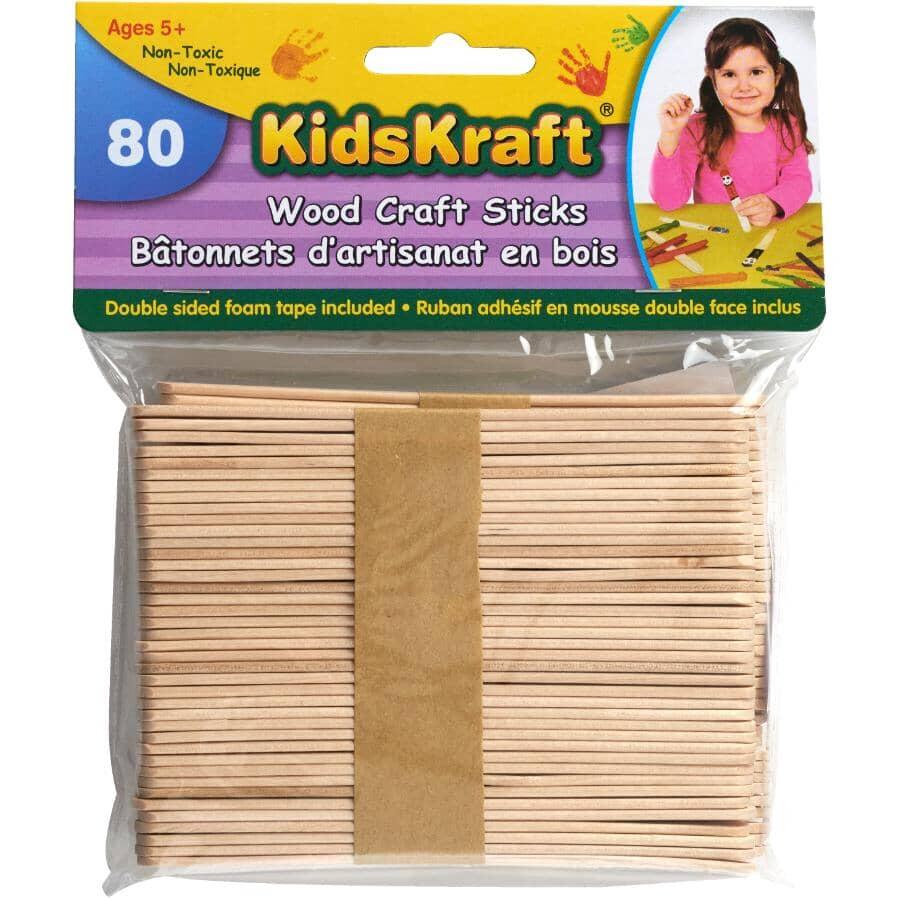KIDS KRAFT:Wooden Craft Popsicle Sticks - 80 Pack