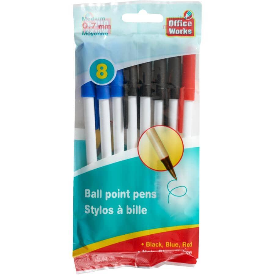 OFFICE WORKS:Medium Ball Point Pens - 8 Pack