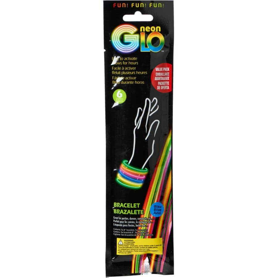 """NEON GLO:Glow Bracelets - 8"""", 6 Pack"""