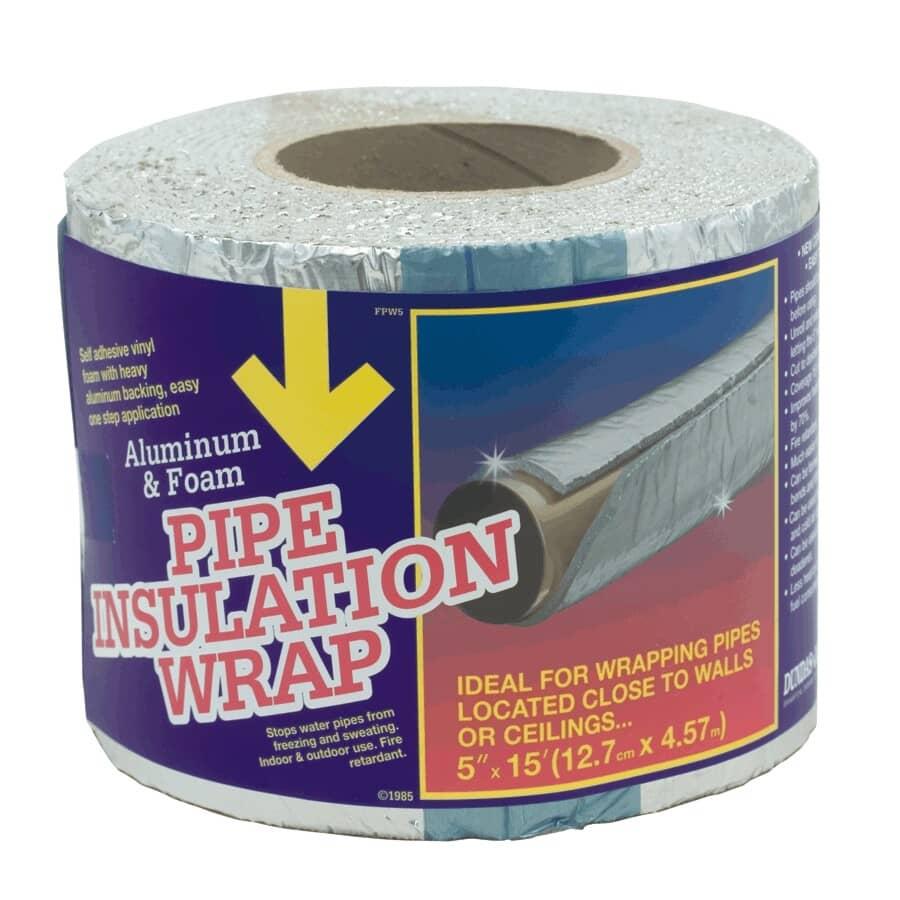 "DUNDAS-JAFINE:Aluminum Backed Foam Pipe Insulation Wrap - 5"" x 15'"