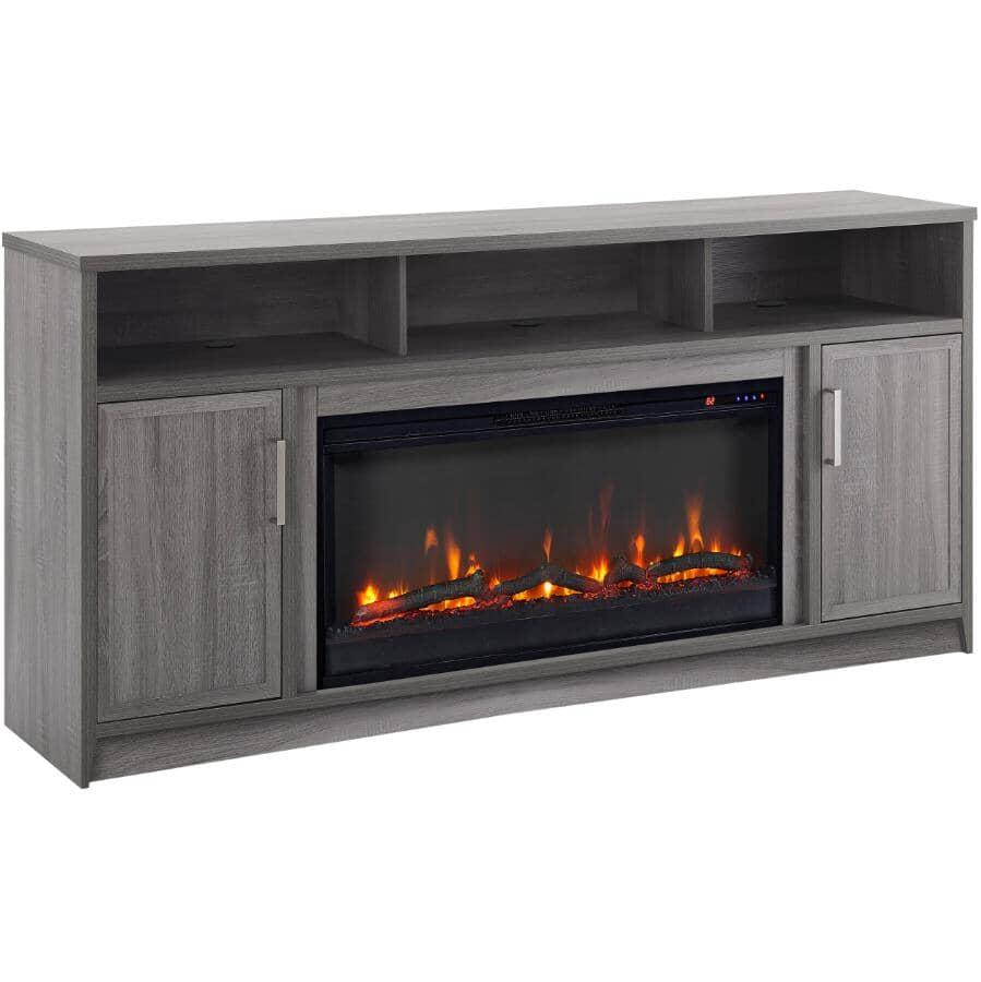 "MUSKOKA:Brooklyn 60"" Infrared Media Electric Fireplace - Rustic Grey Oak"