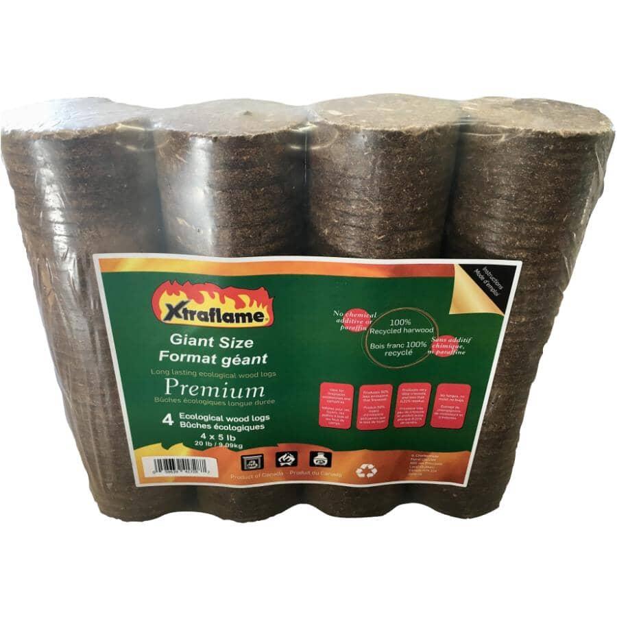 XTRAFLAME:Premium Fireplace Logs - 5 lb, 4 Pack