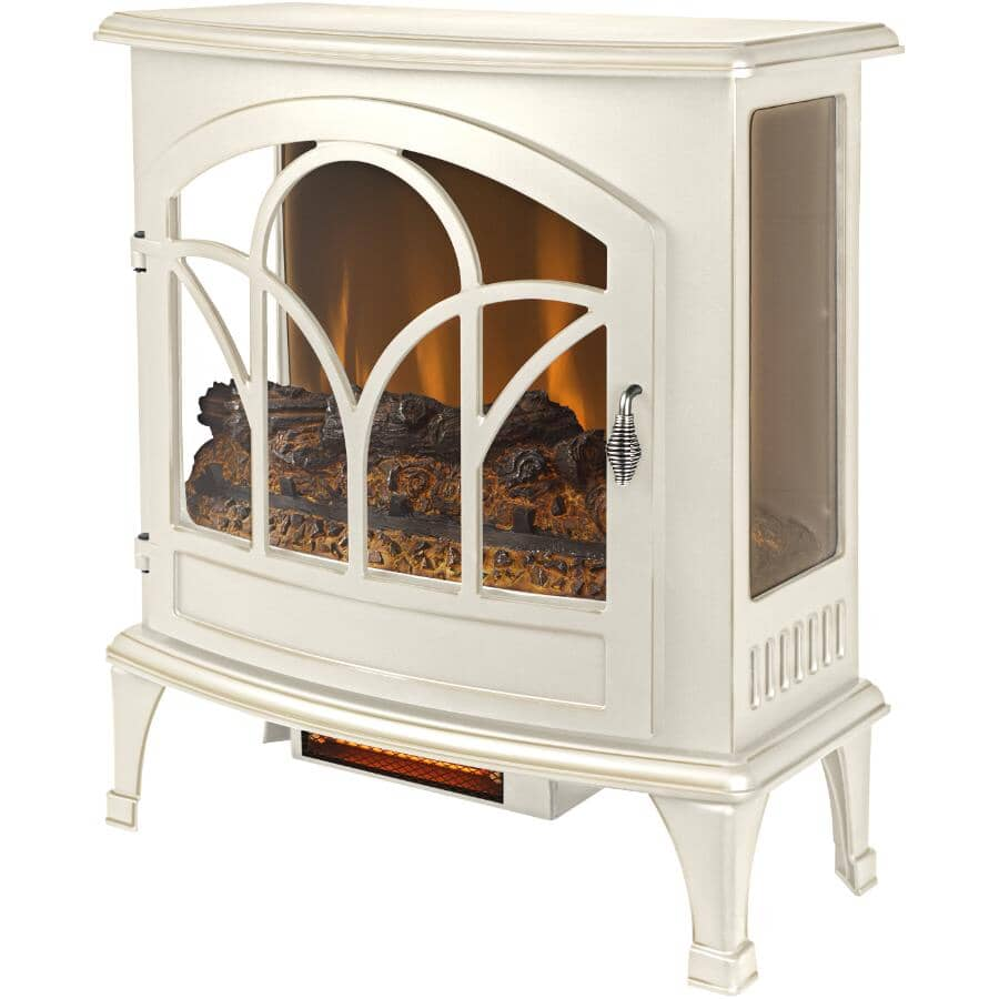 """MUSKOKA:25"""" Electric Infrared Curved Front Panoramic Stove - Aged White Finish"""