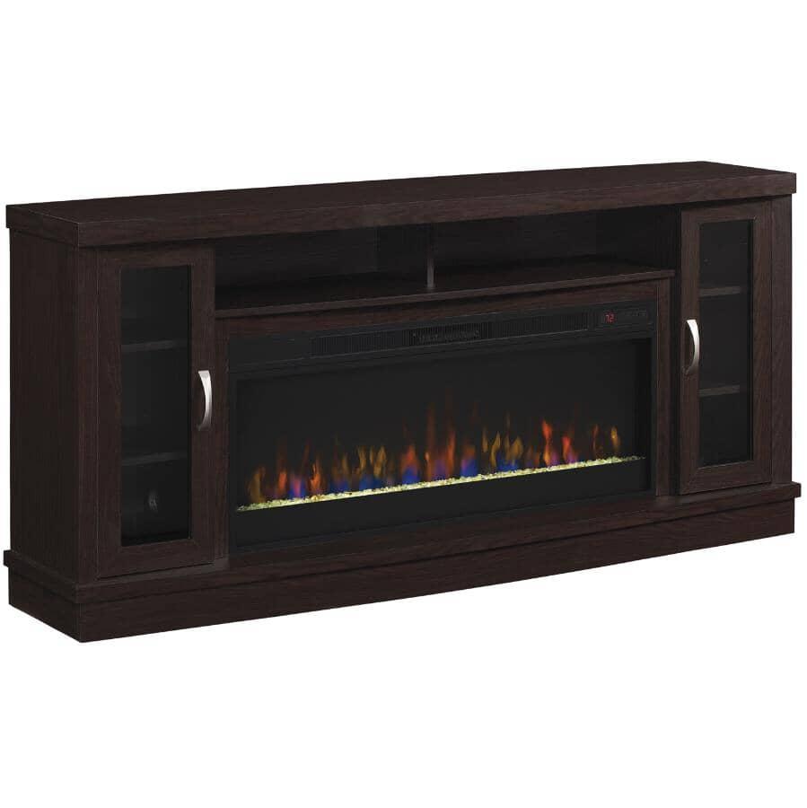 "TWIN STAR HOME:Hutchinson 70"" Media Electric Fireplace - Oak Espresso"