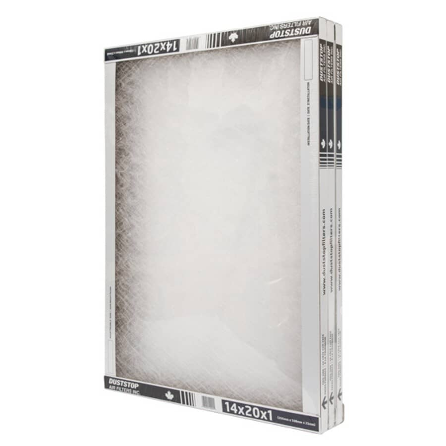 """DUSTSTOP:Furnace Filters - 1"""" x 14"""" x 20"""", 3 Pack"""