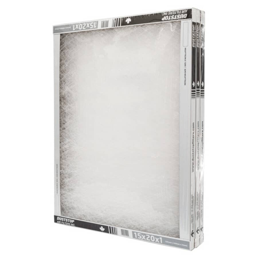 """DUSTSTOP:Furnace Filters - 1"""" x 15"""" x 20"""", 3 Pack"""