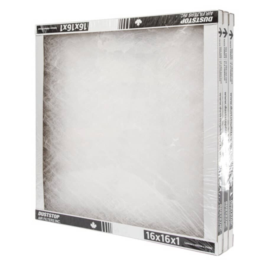 """DUSTSTOP:Furnace Filters - 1"""" x 16"""" x 16"""", 3 Pack"""