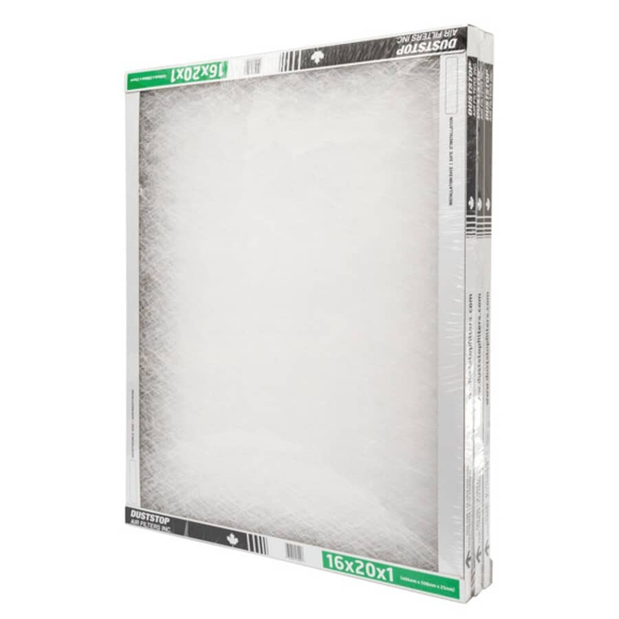 """DUSTSTOP:Furnace Filters - 1"""" x 16"""" x 20"""", 3 Pack"""