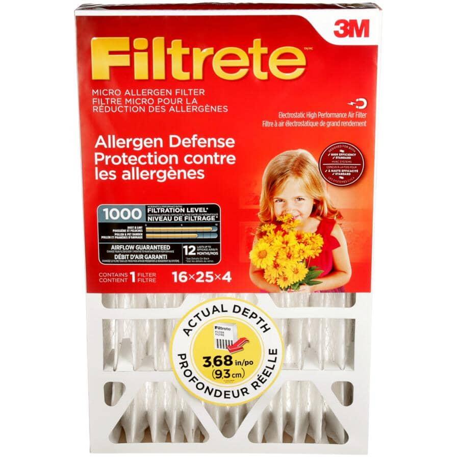 FILTRETE:Filtre micro à plis profonds pour fournaise pour la protection contre les allergènes, 4 x 25 x 16 po