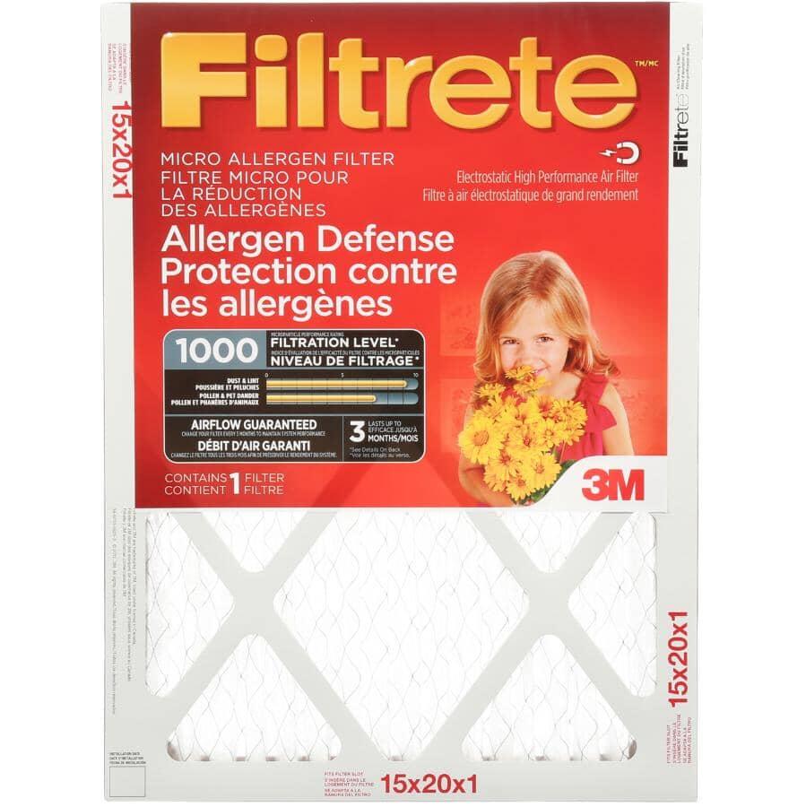 """FILTRETE:Allergen Defense Micro Allergen Furnace Filter - 15"""" x 20"""" x 1"""""""