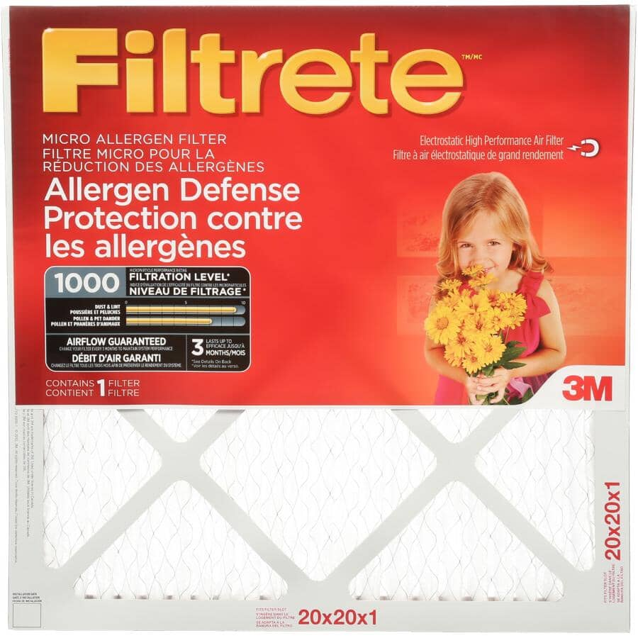 FILTRETE:Filtre micro pour fournaise pour la protection contre les allergènes, 20 x 20 x 1 po