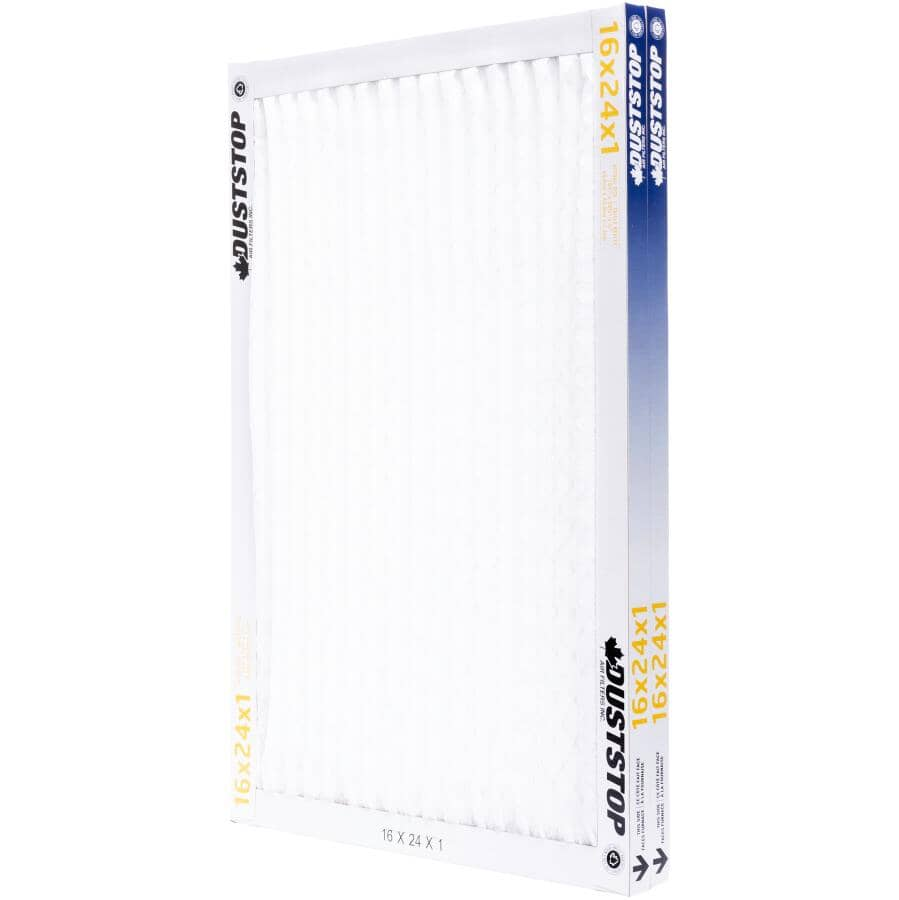 """DUSTSTOP:Pleated Furnace Filters - 1"""" x 16"""" x 24"""", 2 Pack"""