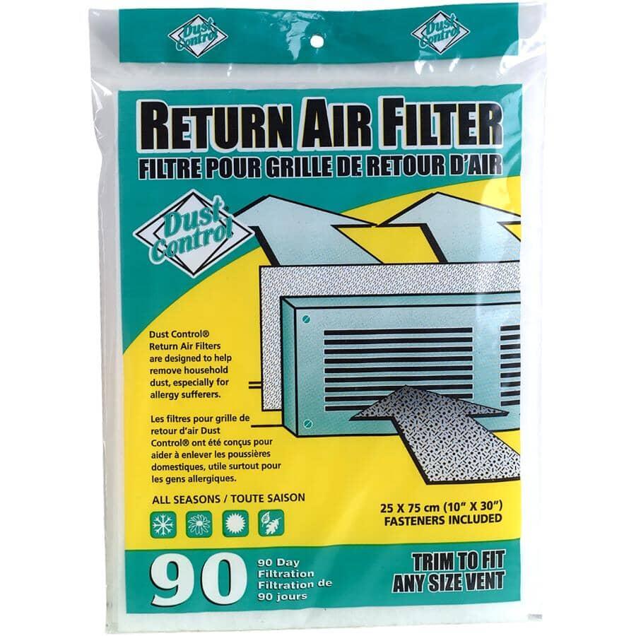 DUST CONTROL:Filtre pour retour d'air frais, 10 po x 30 po