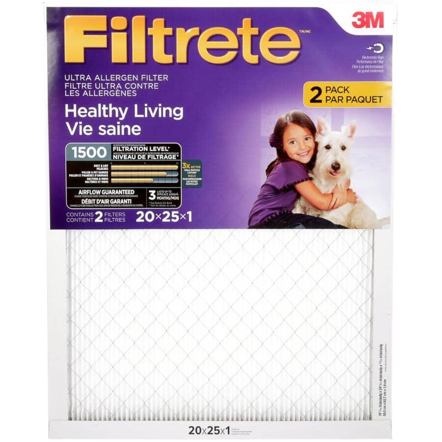 "FILTRETE:Healthy Living Ultra Allergen Furnace Filter - 1"" x 20"" x 25"", 2 Pack"