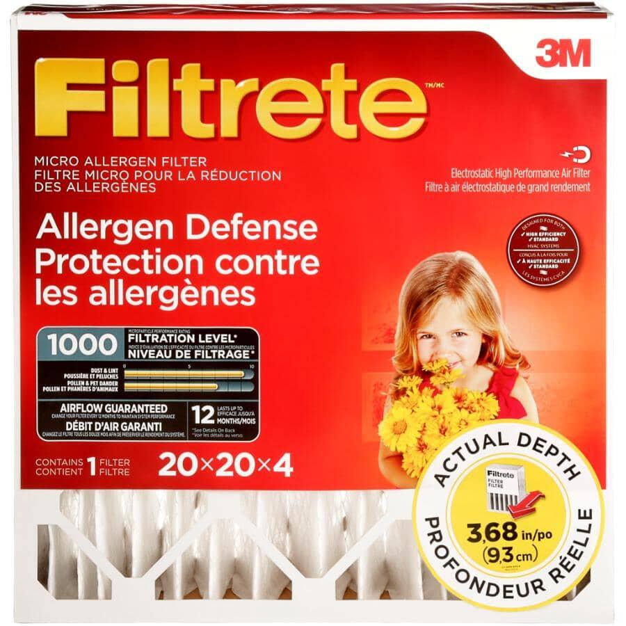 """FILTRETE:Allergen Defense Micro Allergen Deep Pleat Furnace Filter - 20"""" x 20"""" x 4"""""""