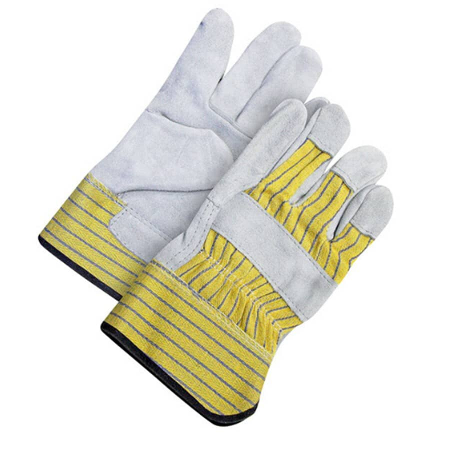 BOB DALE:Ladies Split Leather Combo Striped Work Gloves - One Size