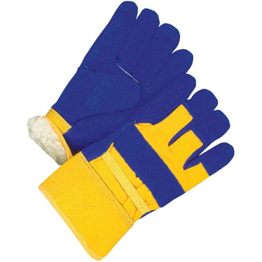 BOB DALE:Men's Split Leather Combo Lined Work Gloves - Large, Blue & Yellow
