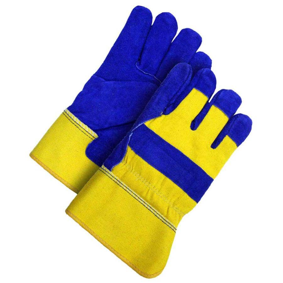 BOB DALE:Men's Split Leather Combo Lined Work Gloves - Extra Large, Blue & Yellow