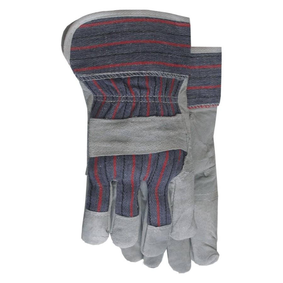 BOSS:Men's Split Leather Combo Striped Work Gloves - Large