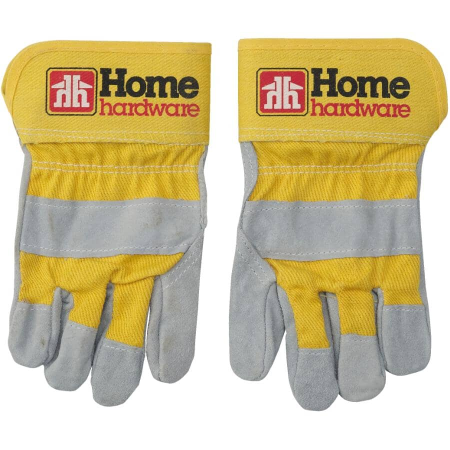 HOME:Kids Split Leather Combo Work Gloves - Yellow
