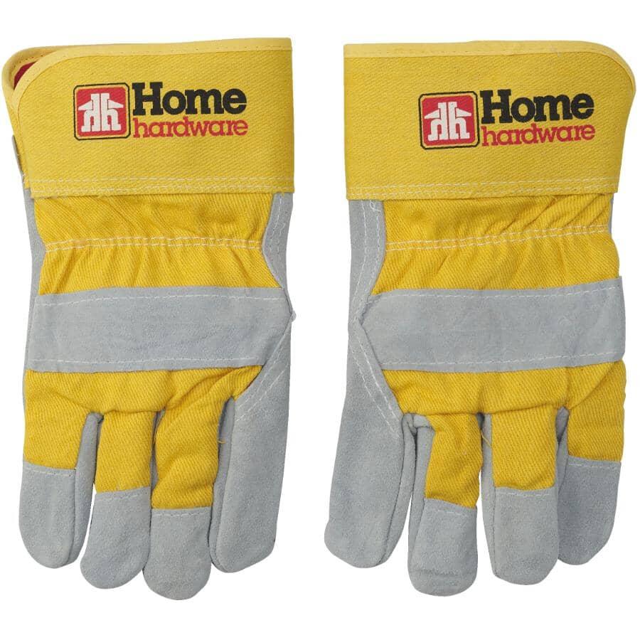 HOME:Men's Split Leather Combo Fleece Lined Work Gloves - Large, Red