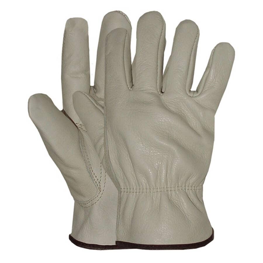 BOSS:Men's Full Grain Leather Driving Gloves - Large, Taupe