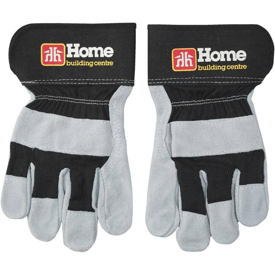 HOME BUILDING CENTRE:Men's Split Leather Combo Work Gloves - Large, Black