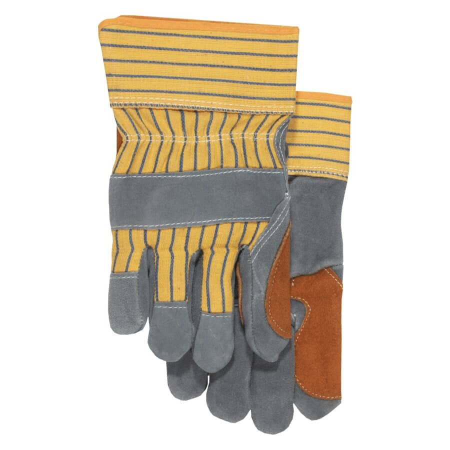 BOSS:Men's Split Cowhide Leather Combo Work Gloves - with Double Palm, Large