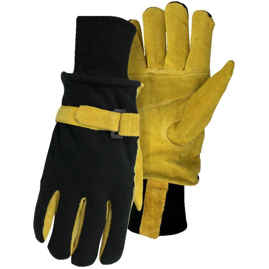 BOSS:Men's Split Leather Combo Fleece Work Gloves - Large