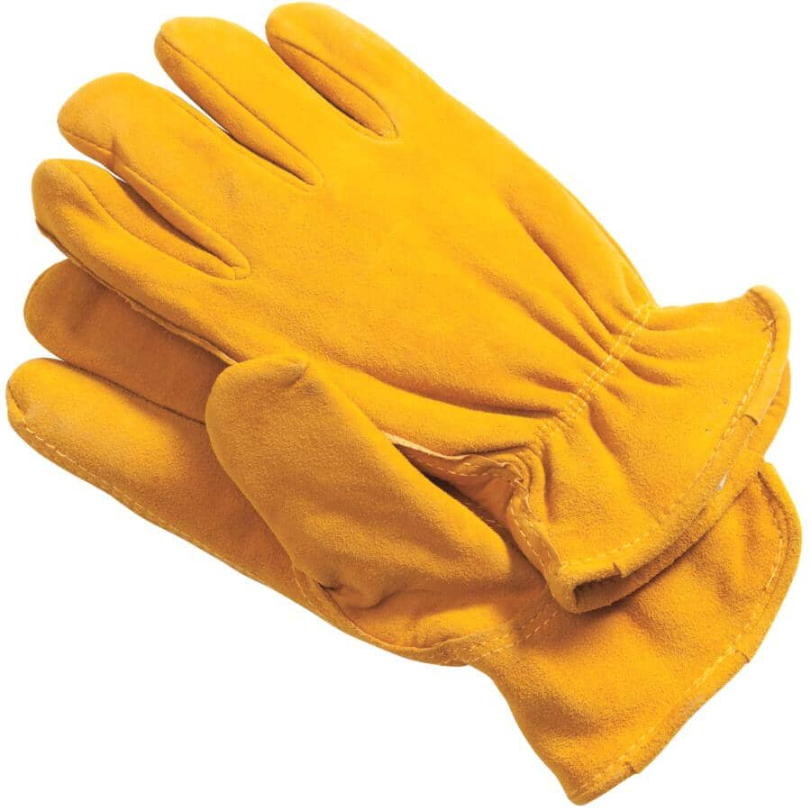 BOSS:Men's Split Deerskin Leather Lined Driving Gloves - Large, Yellow