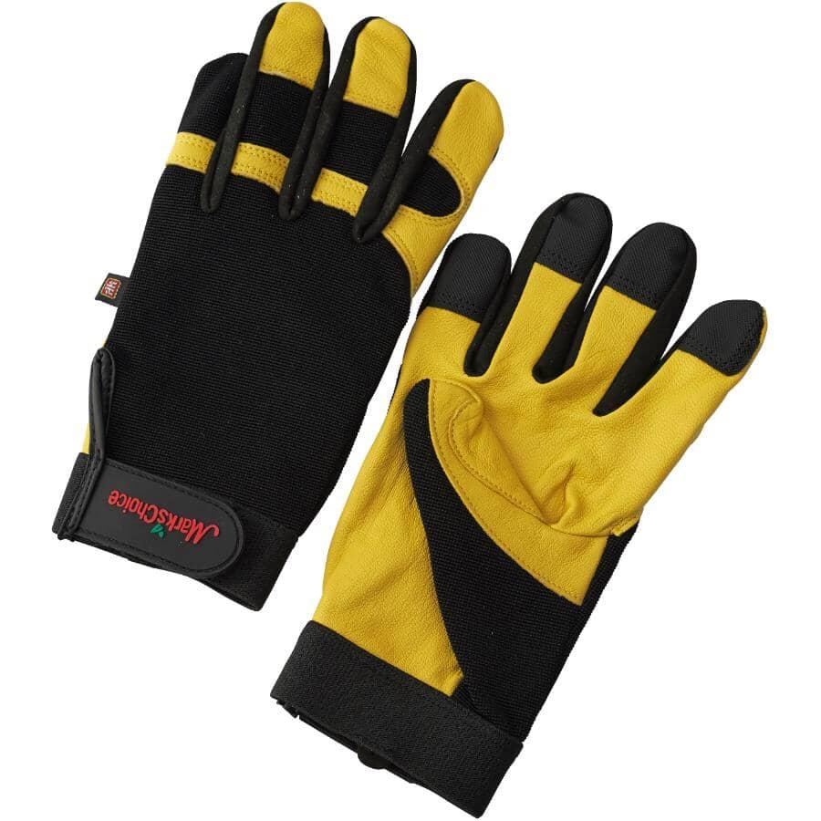 WATSON GLOVES:Men's Spandex Work Gloves - with Full Grain Leather Palms, Medium