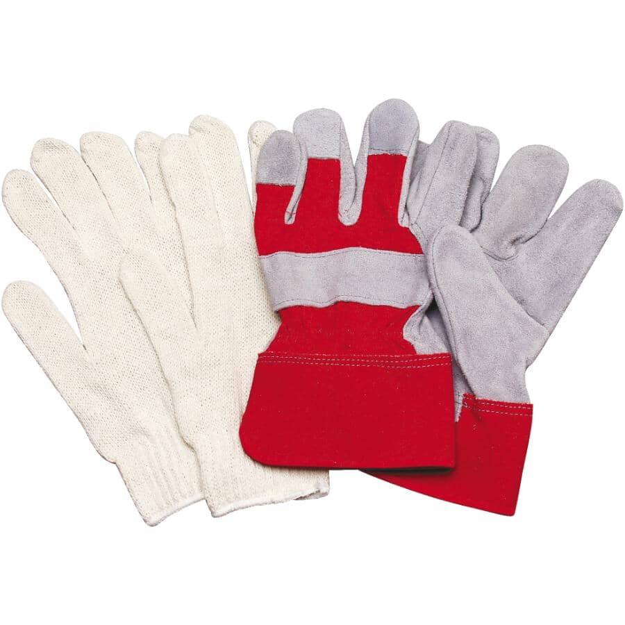BOSS:Men's Split Leather Work Gloves & Knit Lined Work Gloves - One Size