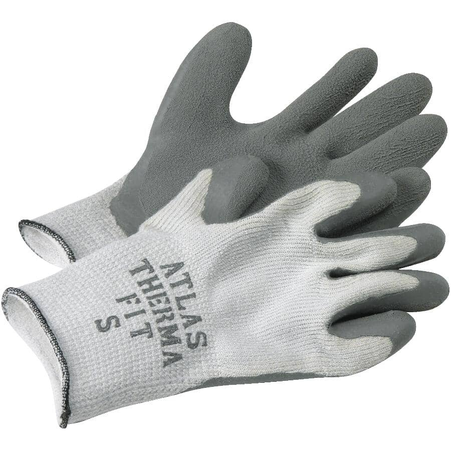 WATSON GLOVES:Men's Knit Lined Work Gloves - with Latex Rubber Coating, Small