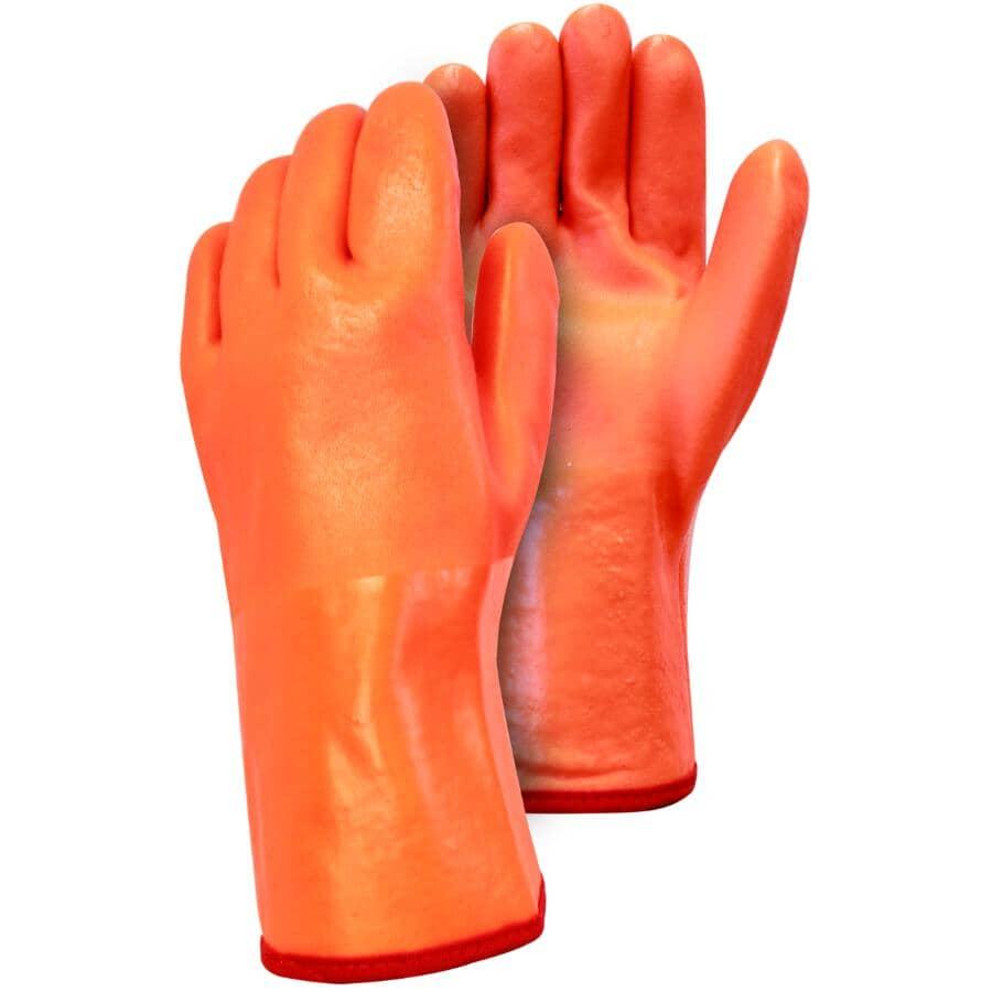 WORKHORSE:Men's PVC Foam Lined Work Gloves - with Gauntlet Cuff, Orange
