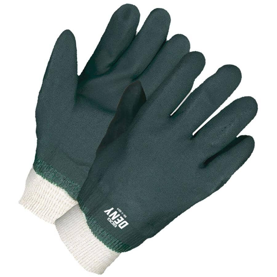 BOB DALE:Men's PVC Coated Jersey Lined Work Gloves - with Knit Wrist, Green
