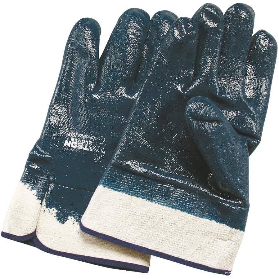 WATSON GLOVES:Heavy Duty Nitrile Coated Work Gloves - with Short Cuff, One Size