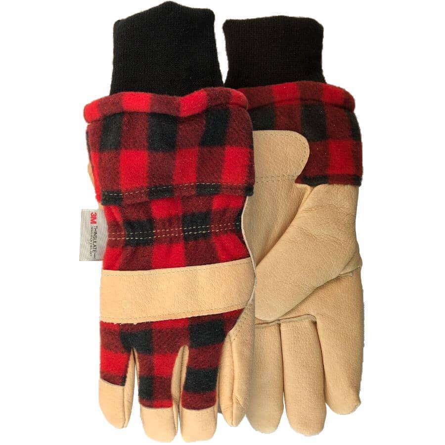 WATSON GLOVES:Gants d'hiver doublés en cuir pleine fleur pour femmes, petit, carreaux rouges