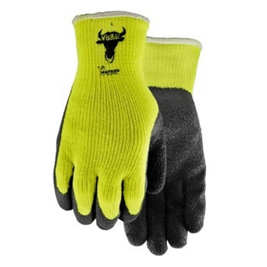 WATSON GLOVES:Men's High Visibility Visibull Lined Work Gloves - with Rubber Latex Coated Palms, Extra Large