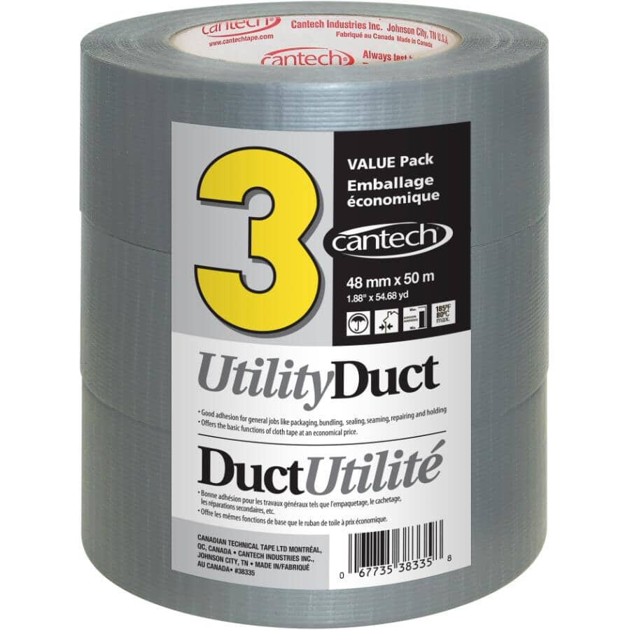 CANTECH:Utility Duct Tape 48mm x 50M - 3 Pack