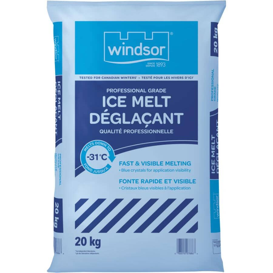 WINDSOR SALT:Fast Acting Pro Grade Ice Melt Bag - 20 kg