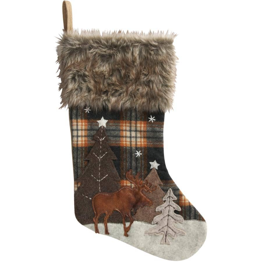 """DANSON DECOR:20"""" Plaid Faux Fur Moose Stocking"""