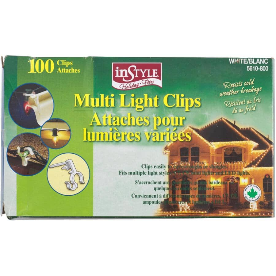 INSTYLE HOLIDAY:100 Pack White All Purpose Snap-In Light Clips